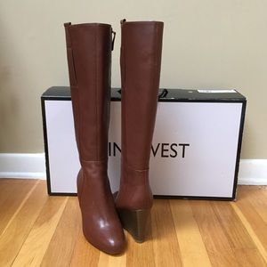 1a70737f0a1 Nine West 'Orsella' Leather Knee High Wedge Boots NWT